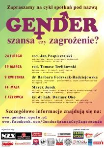"""Cykl spotkań """"Gender - szansa czy zagrożenie?"""" w Opolu"""
