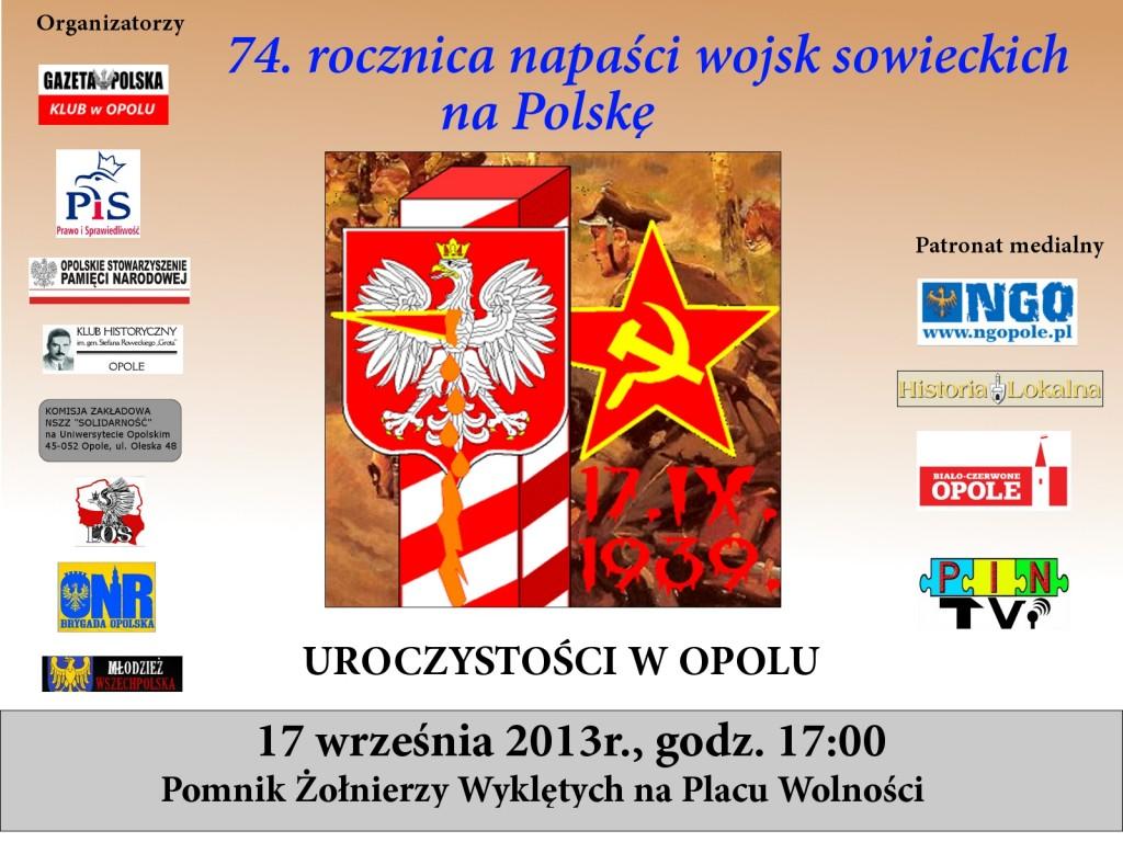 Obchody rocznicy sowieckiej napaści na Polskę w Opolu 17-09-2013