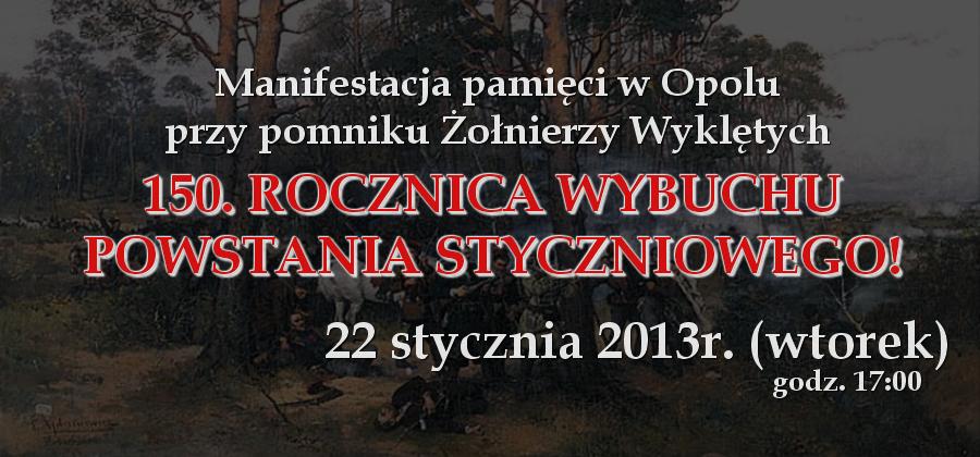 Rocznica Powstania Styczniowego w Opolu 22-01-2013