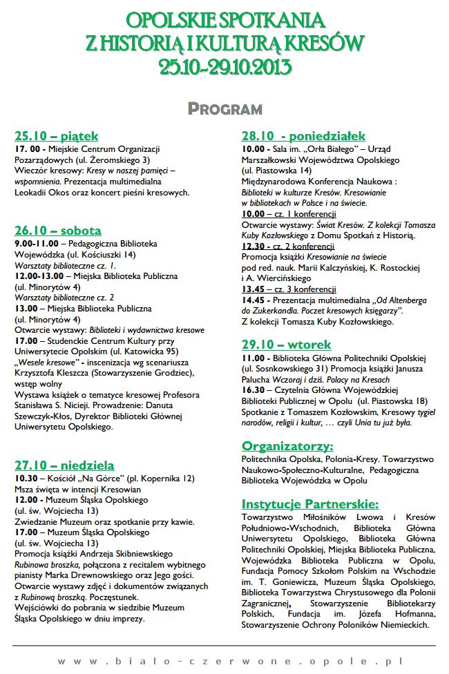 Spotkania z Kresami w Opolu 25-29.10.2013