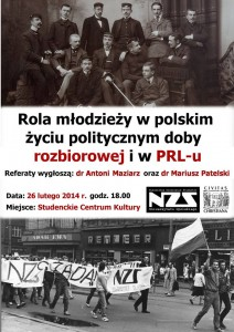 """Wykład """"Rola młodzieży w polskim życiu politycznym doby rozbiorowej i w PRL"""" w Opolu 26-02-2014"""